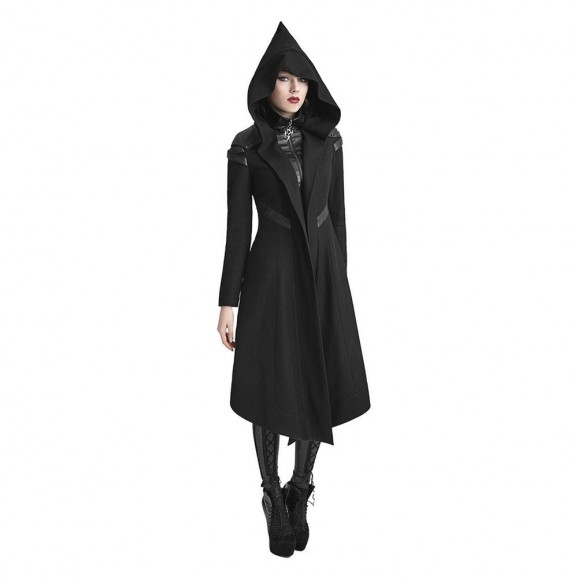 Women Goth Cyber Coat Dieselpunk Hooded