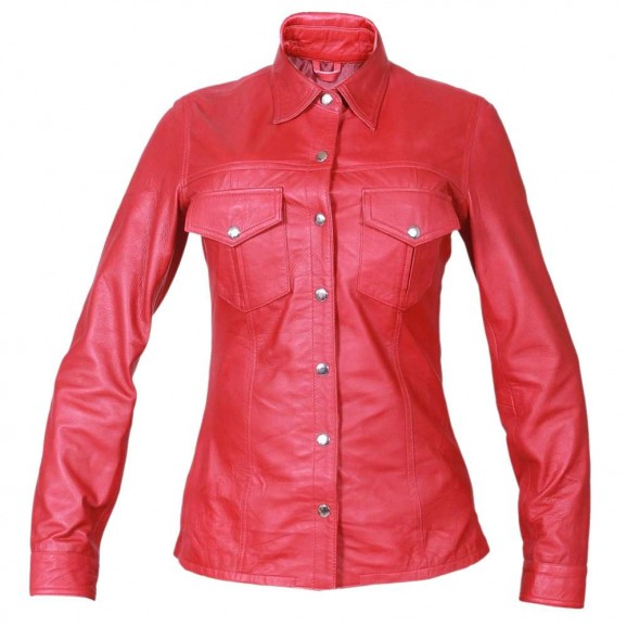 Women Military Police Gothic Leather Shirt